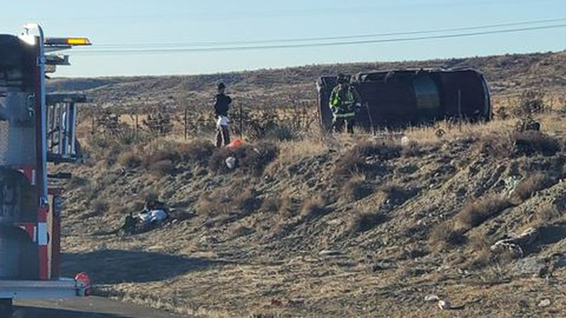 One passenger died in a rollover crash on I-25 Saturday morning near Exit 116