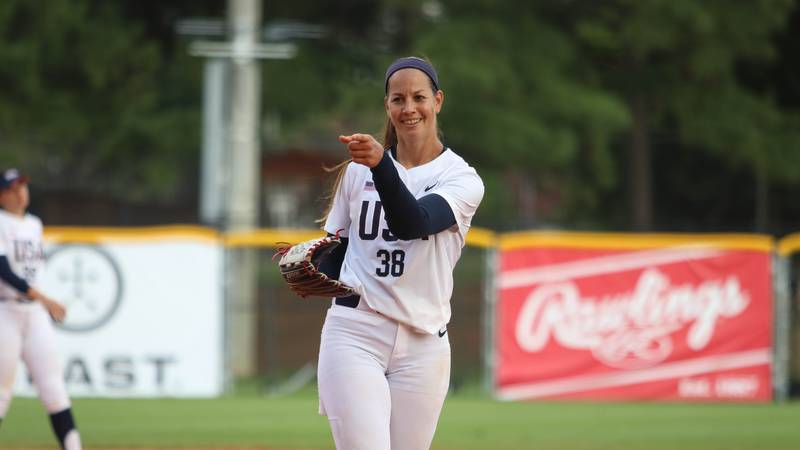 Cat Osterman pitching for USA Softball women's national team.