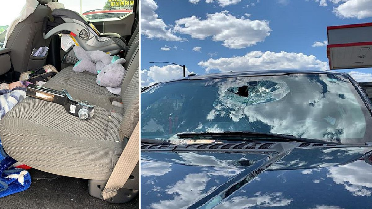 A close call for a family driving on I-25 in Colorado Springs on Thursday.  A trailer hitch broke through their windshield and landed in their back seat, right next to their child.  Photo taken Aug. 15, 2019.