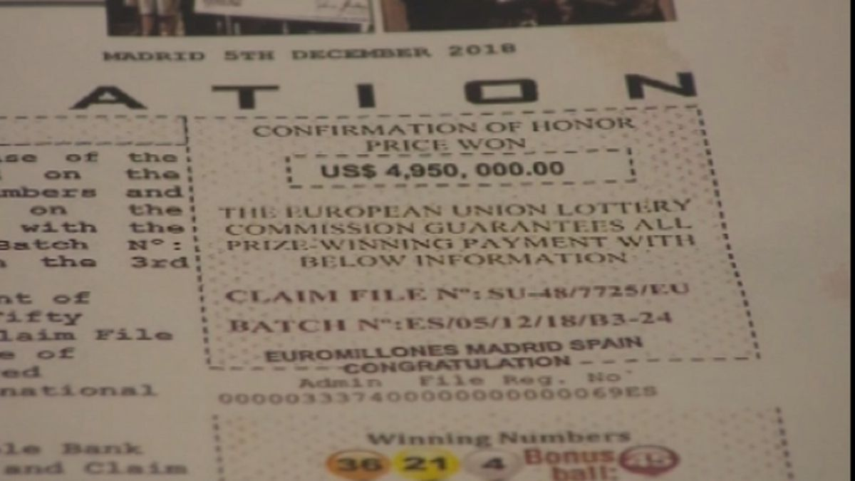 A European lottery scam cost a Colorado Springs woman nearly $75,000.  This is the piece of mail that tricked her into thinking she won $5 million. Photo taken by KKTV on July 24, 2019.