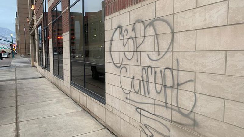 """CSPD Corrupt "" graffiti painted in two different locations in Colorado Springs."