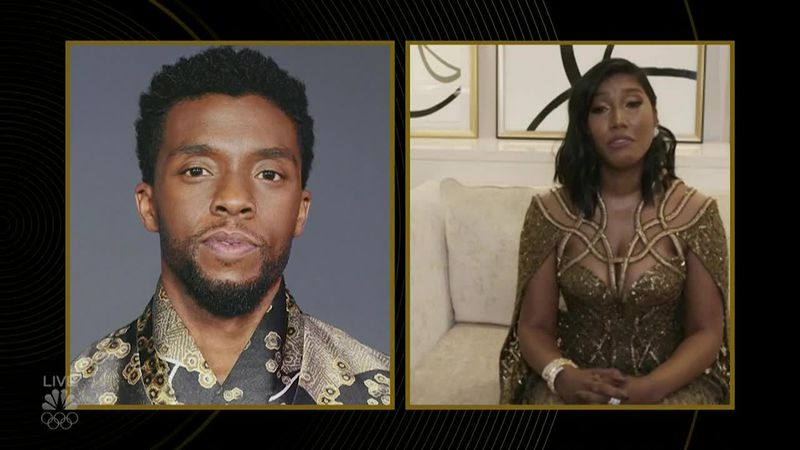 The night's most emotional moment came when Chadwick Boseman's widow accepted his award for...