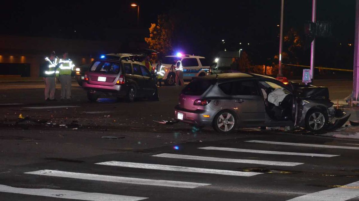 Police investigate the scene of a fatal crash on the night of June 19, 2020.