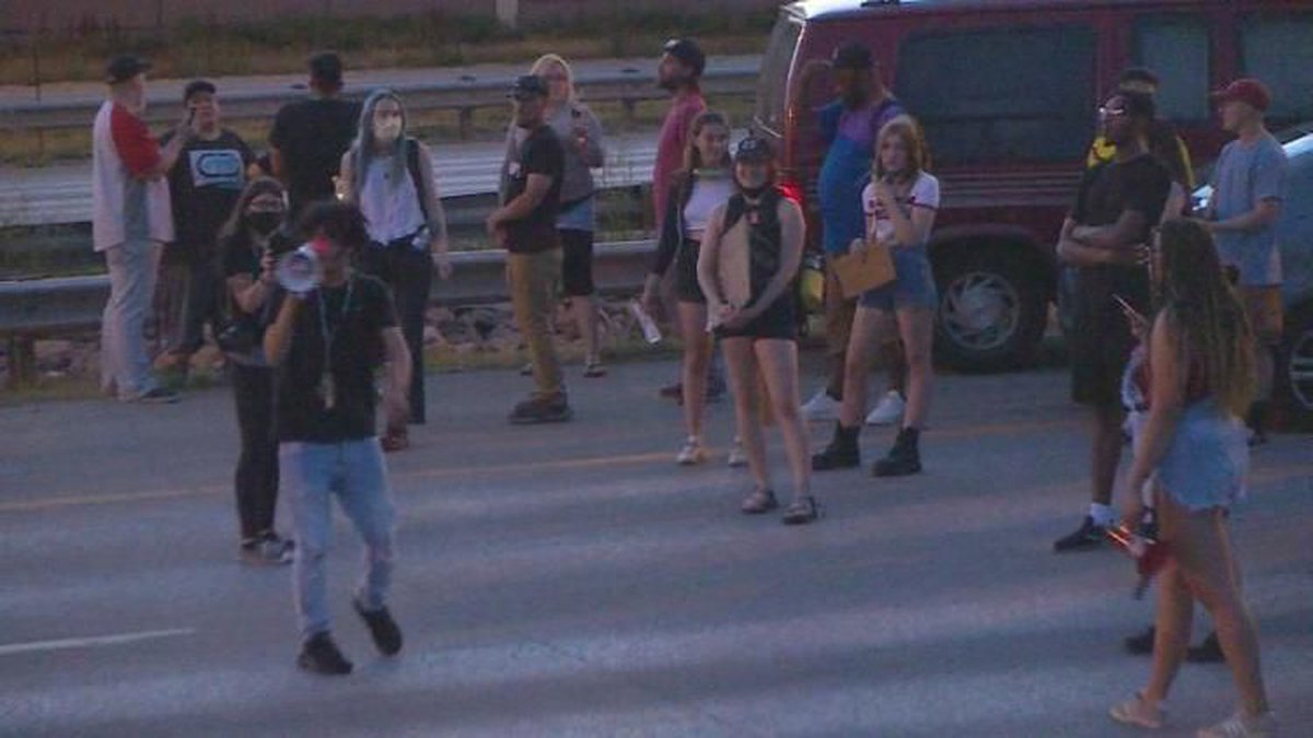 Protesters blocking I-25 in Colorado Springs in June 2020.