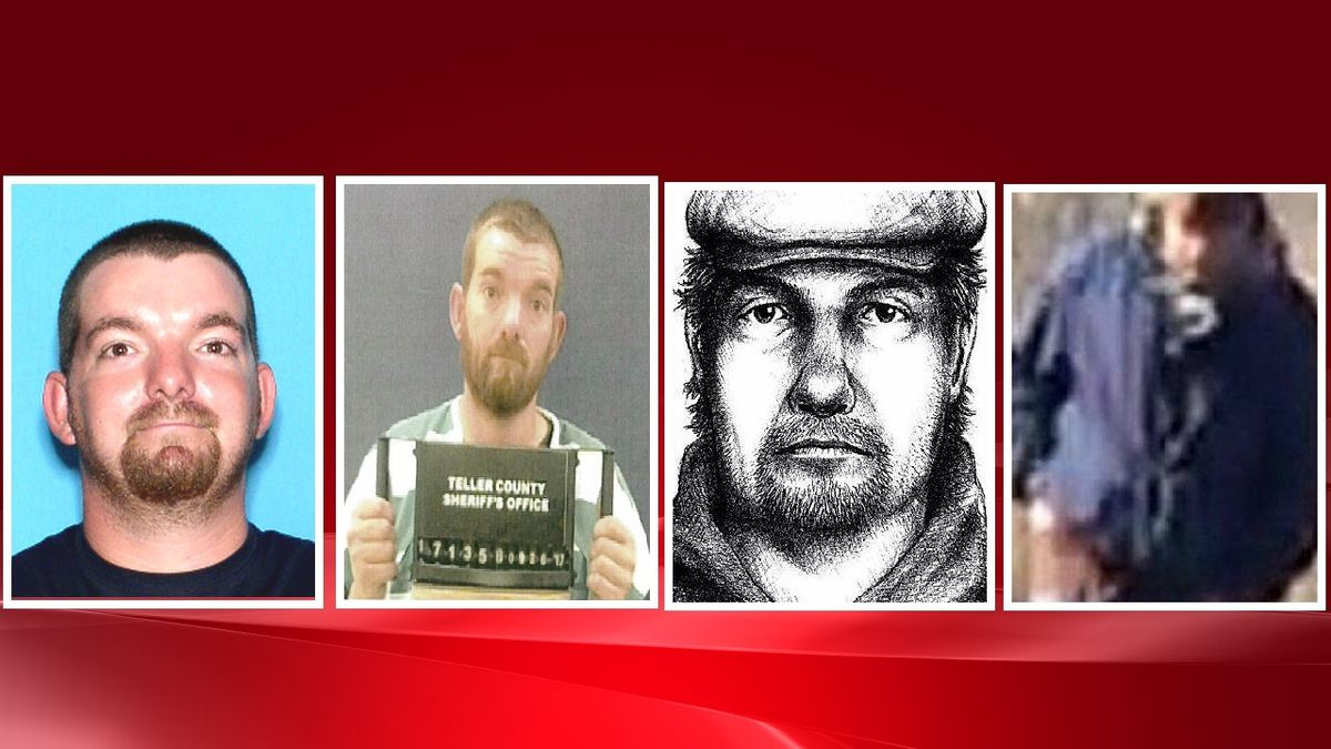 Far left, Nations mugshot from Aug. 29, 2012 for sex offender registry.  2nd from left, Nations mugshot from Teller County on Sept. 25, 2017.  2nd from right, composite sketch of Delphi murders person of interest.  Far right, composite sketch of person of interest in Delphi murders.