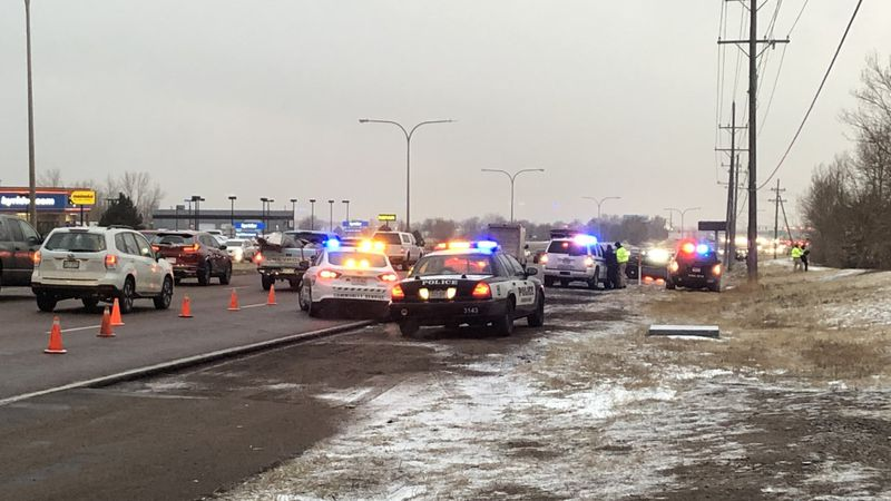Police investigate a crash along Powers Boulevard in Colorado Springs on 1/25/21.