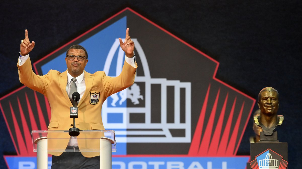 Steve Atwater, a member of the Pro Football Hall of Fame Centennial Class, speaks during the...