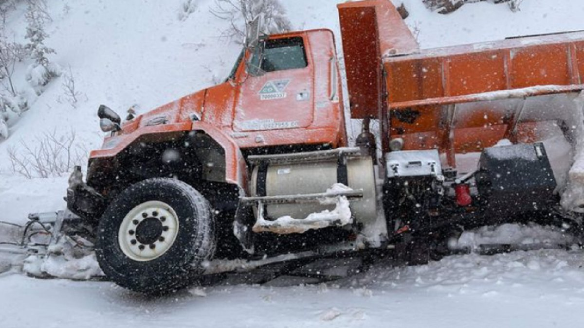 A CDOT plow was stuck during a snowstorm in Colorado on 3/14/21.