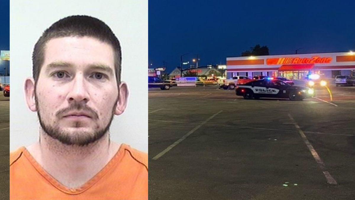A crime scene in the parking lot of a Colorado Springs AutoZone 6/4/21. Colorado Springs police...