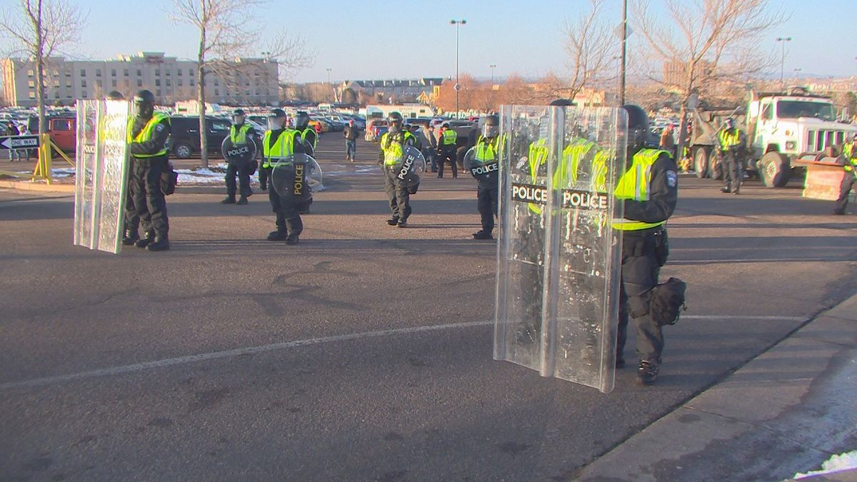 Police presence at the Donald Trump rally in Colorado Springs on 2/20/20.