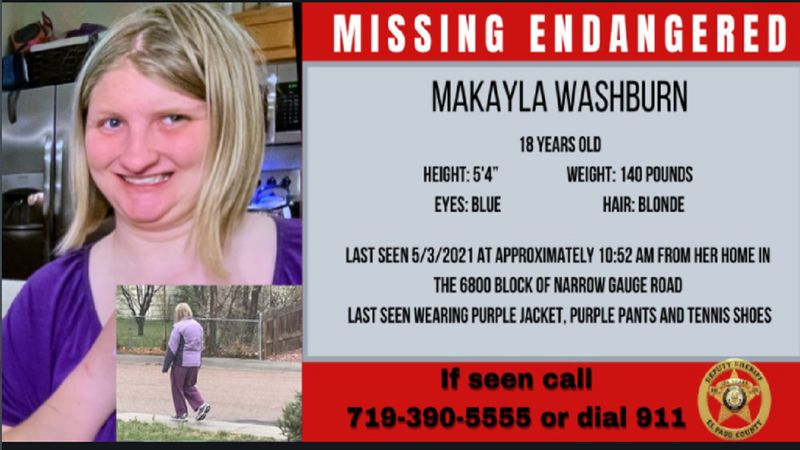 Missing 18-year-old woman in El Paso County 5/3/21.