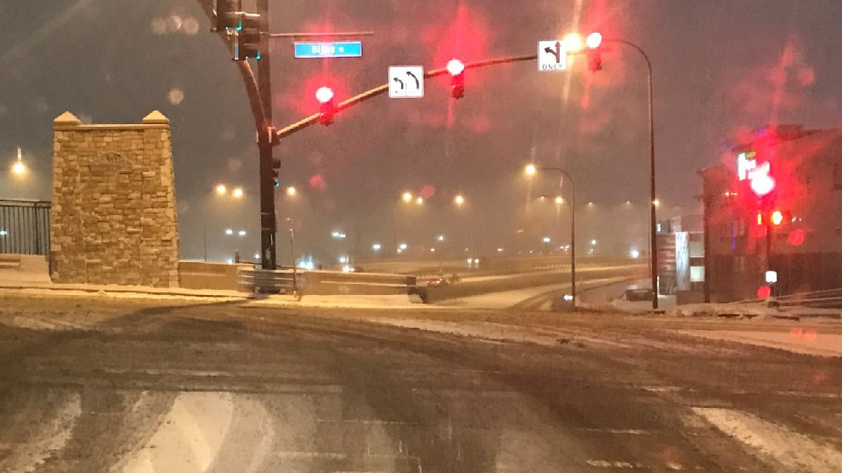 Road conditions in Colorado Springs on Feb. 6, 2020 at about 8 p.m.