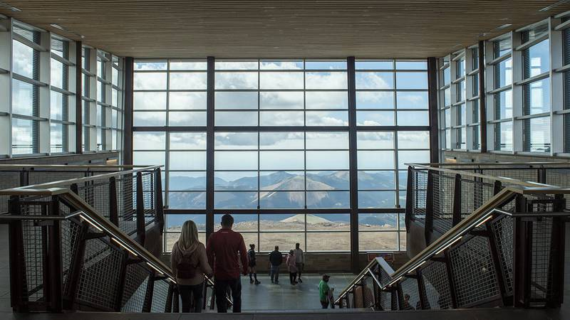 The view when you first walk in the Pikes Peak Summit Visitor Center.