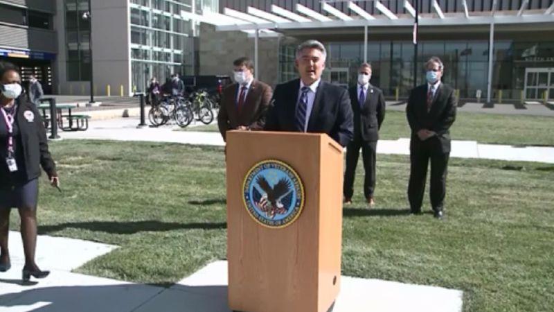 Sen. Cory Gardner addresses the public at the VA Hospital in Aurora on 10/16/20.