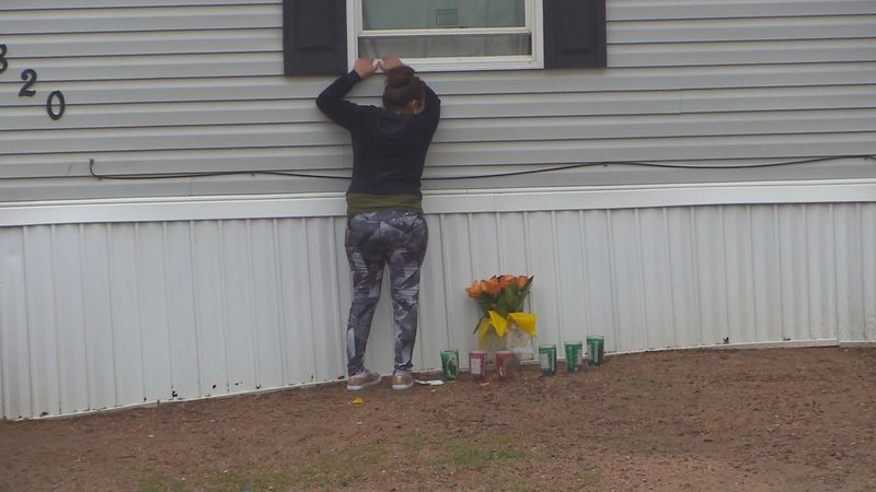 A memorial can be seen outside the mobile home in Colorado Springs where six innocent people...