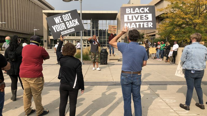 People gathered at the El Paso County Courthouse to ask for charges to be dropped against...
