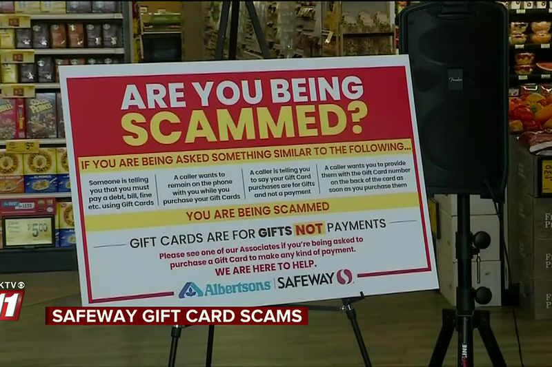 Safeway and Albertsons stores are installing new signs near gift card kiosks to warn customers...