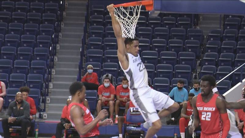 Air Force sophomore Nikc Jackson dunks on New Mexico in a 62-55 win Wednesday at Clune Arena