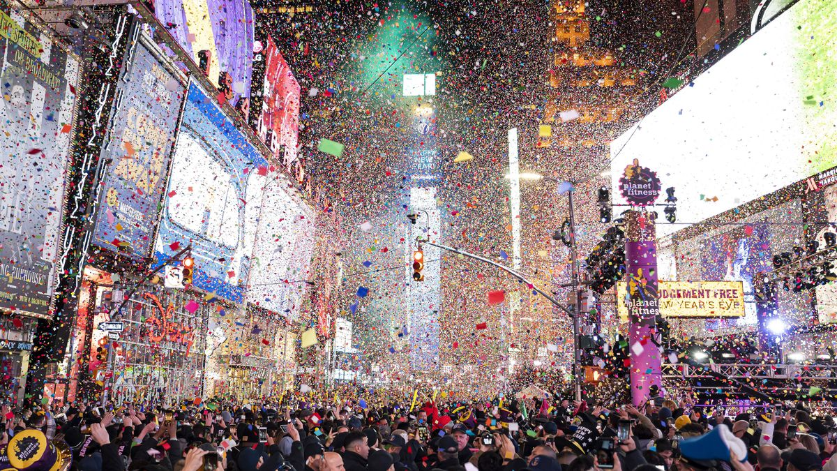 Confetti falls at midnight on the Times Square New Year's Eve celebration, Wednesday, Jan. 1, 2020, in New York.