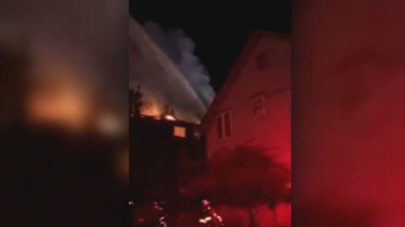 Fire burning at an apartment building in Boulder on Oct. 19, 2021.