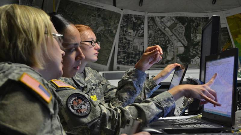 U.S. Army Capt. Jennifer Staton, space operations officer, Sgt. Cassandra Quinones and Pfc....