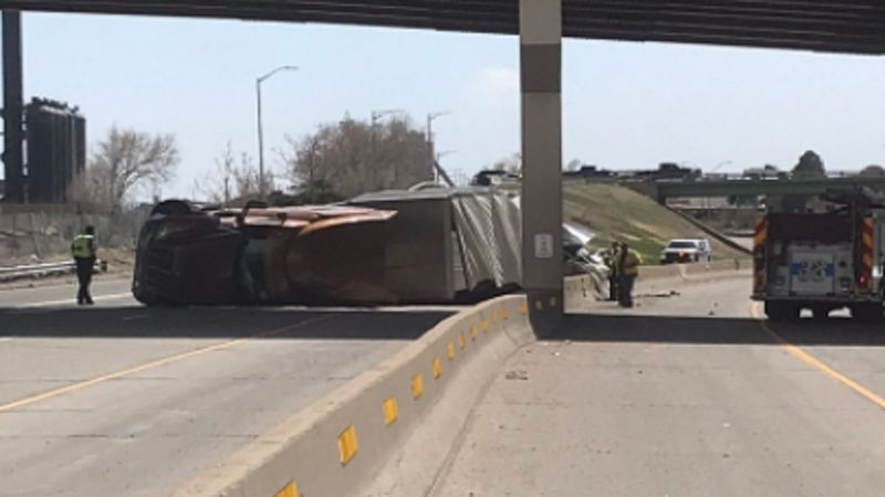 Crash on I-25 involving a semi in Pueblo on 4/6/21.