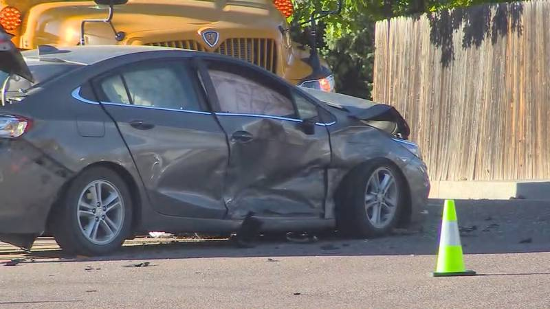 Police say a driver ran a red light and slammed into a second car.  One of those two vehicles...