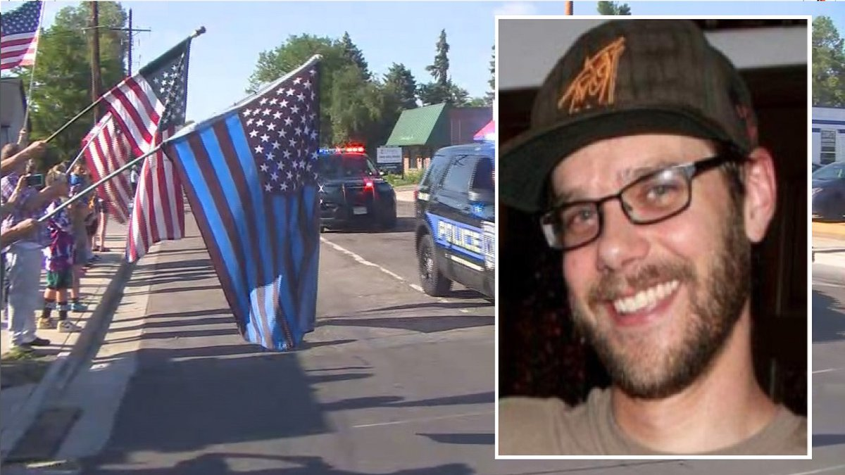 Background photo is of a procession following a shooting in Arvada on 6/21/21. On the right is...
