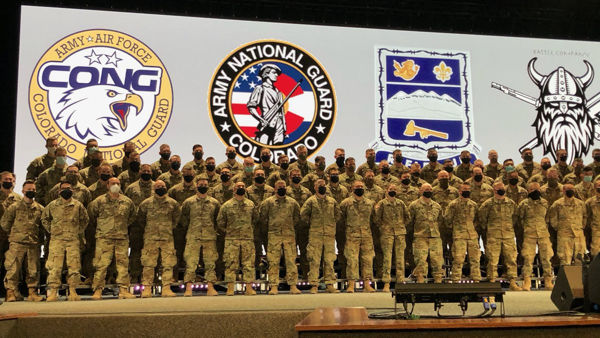 """Hundreds of  Colorado Army National Guard Soldiers from Company B """"Battle"""" 1st Battalion 157th..."""