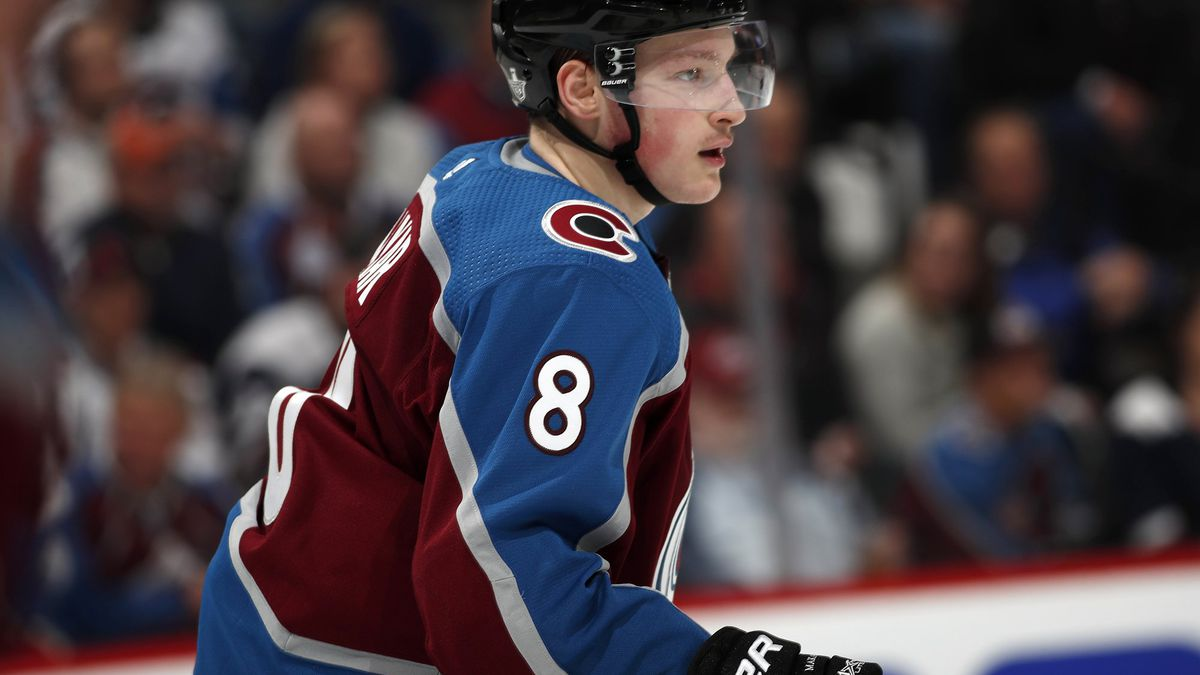 Colorado Avalanche defenseman Cale Makar drops back to defend in the second period of Game 3 of a first-round NHL hockey playoff series against the Calgary Flames, Monday, April 15, 2019, in Denver. The game was the first in the NHL for Makar. (AP Photo/David Zalubowski)