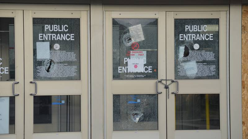 Vandals smashed at least four windows at the county courthouse overnight, along with damaging...