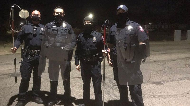 Pueblo Police helped wrangle an intruder inside a home on Polk Street in Pueblo early Friday...