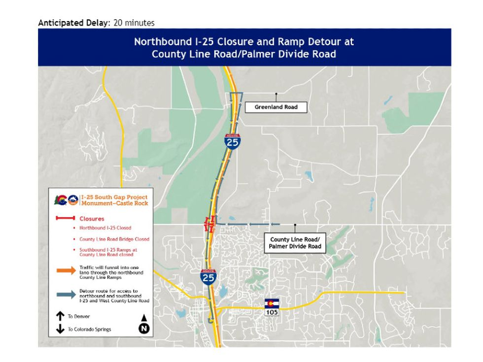 Northbound I-25 closure and ramp detour at County Line Road/ Palmer Divide