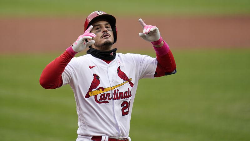 St. Louis Cardinals' Nolan Arenado celebrates after hitting a solo home run during the second...