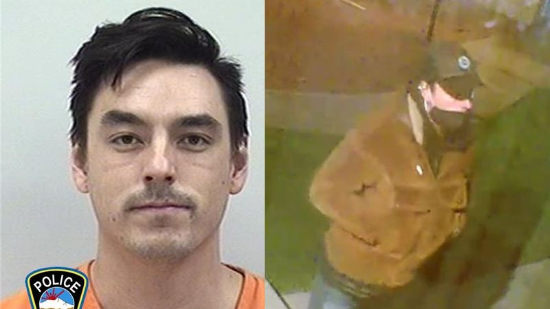 From left: Mugshot of Danny Wickstrom, 27, following his May 19, 2021 arrest; a surveillance...