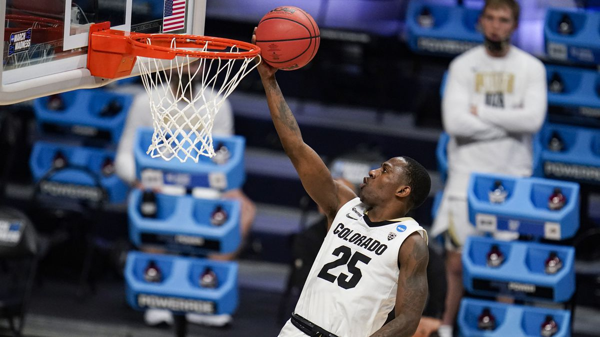 Colorado guard McKinley Wright IV (25) shoots against Georgetown in the second half of a...