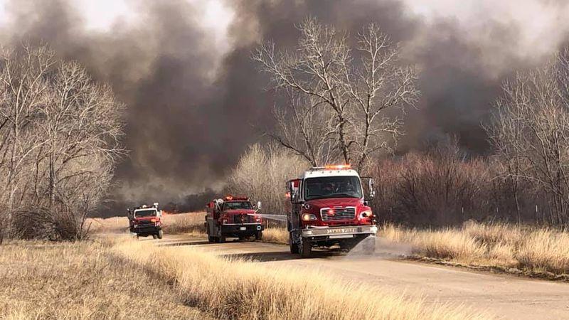 Fire burning near Fort Lyon, CO on 1/15/21.