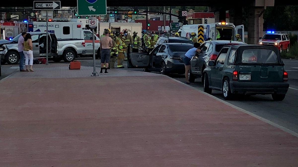 Scene of the car accident on Nevada near I-25 bridge.