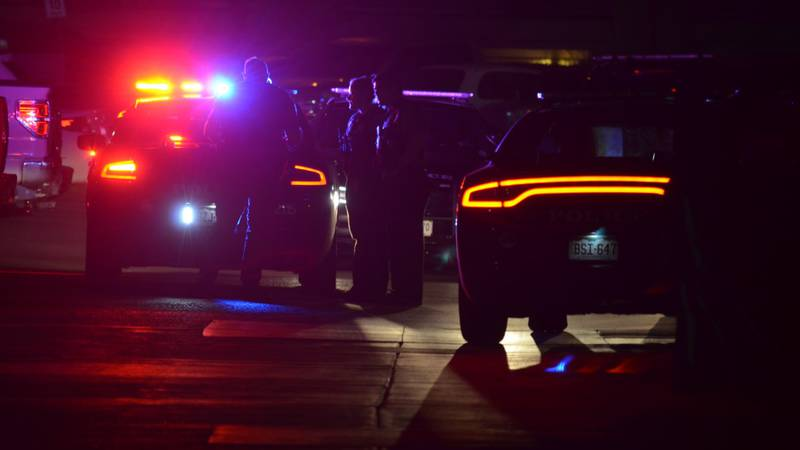 Police on the scene of a shooting at the Sienna Place Apartments on Sept. 18, 2021.