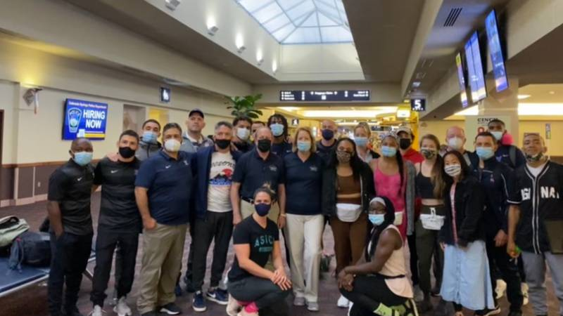 Mayor John Suthers was up bright and early Saturday to help send off the U.S. Olympic Wrestling...