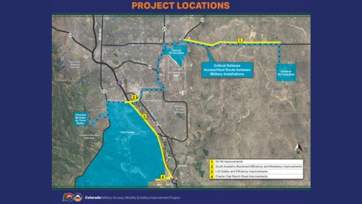 Map of the contruction projects for the Military Access, Mobility & Safety Improvement Project