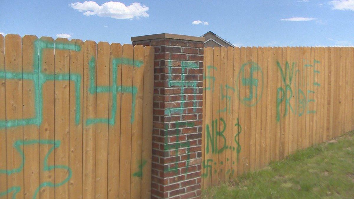 """White pride"" was among the graffiti put on a fence near Vista Ridge High..."