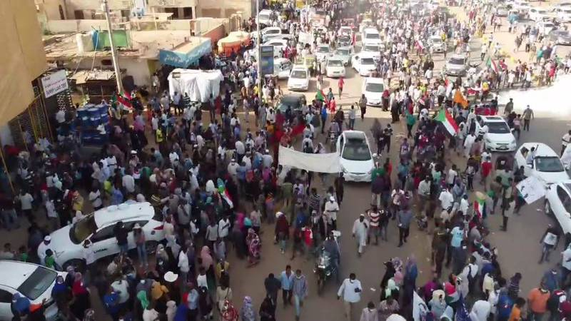 Thousands of Sudanese protesters took to the streets Thursday, Oct. 25, 2021, to voice their...