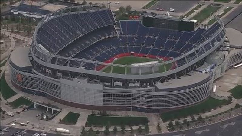 Undated aerial photo of Empower Field at Mile High.
