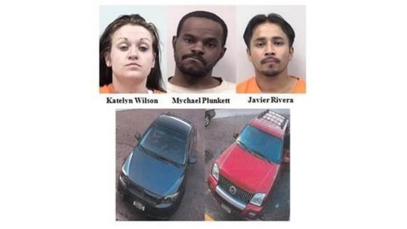 The three suspects and two known stolen vehicles are pictured above.  Both vehicles have since...