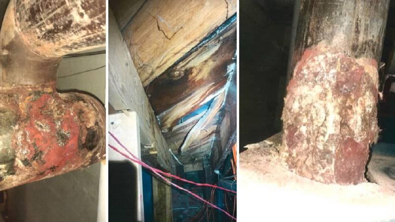 Damage inside Carlile Elementary.