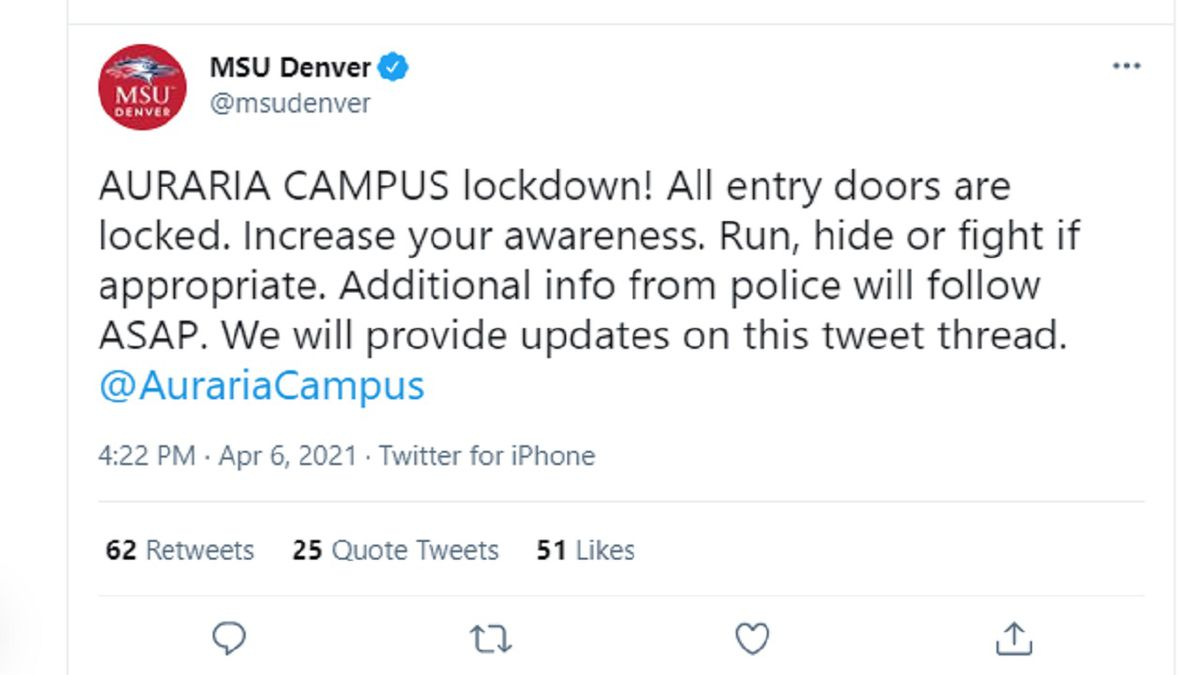 MSU Aurora Campus lockdown message 4/6/21 sent out at 4:25 p.m.