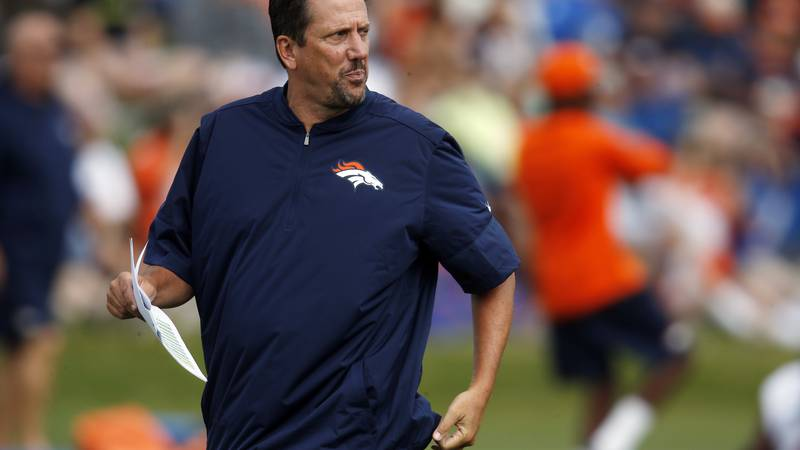 FILE - In this Aug. 4, 2016, file photo, Denver Broncos quarterbacks coach Greg Knapp watches...