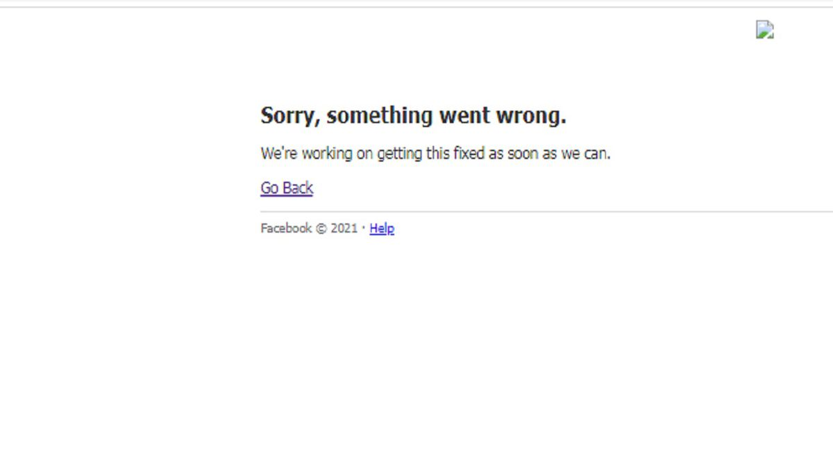 Web page displayed when trying to visit Facebook.com on 4/8/21.