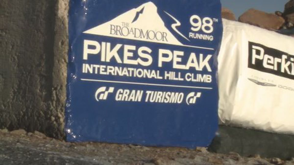 a sign at the 98th running of the Pikes Peak International Hill Climb